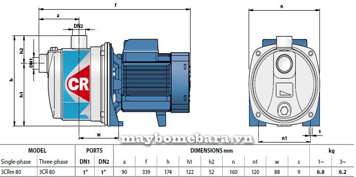 Máy bơm nước Ebara 3CRm 80 bảng thông số kích thước