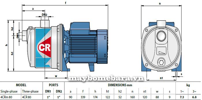Máy bơm nước Ebara 4CRm 80 bảng thông số kích thước