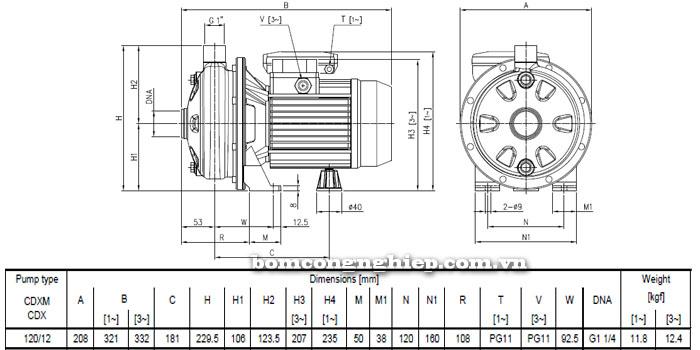 Máy bơm nước Ebara CDX 120/12 bảng thông số kích thước