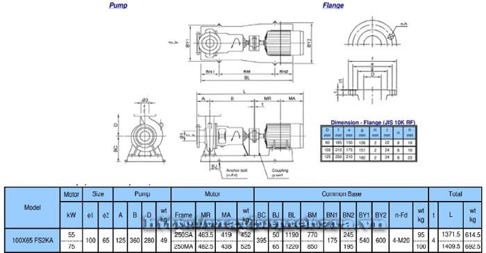 Bơm ly tâm trục rời Ebara FSA 100×65 bảng thông số kích thước