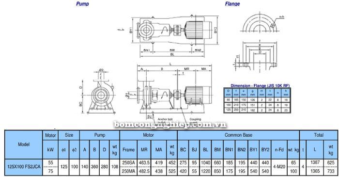 Bơm ly tâm trục rời Ebara FSA 125x100 bảng thông số kích thước